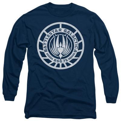 Long Sleeve: Battle Star Galactica-Scratched BSG Logo