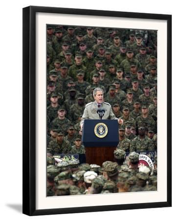 President Bush Speaks to Marines During a Visit to Camp Pendleton Base in San Diego