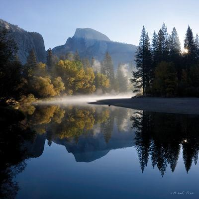 Autumn Sunrise, Half Dome, and the Merced River