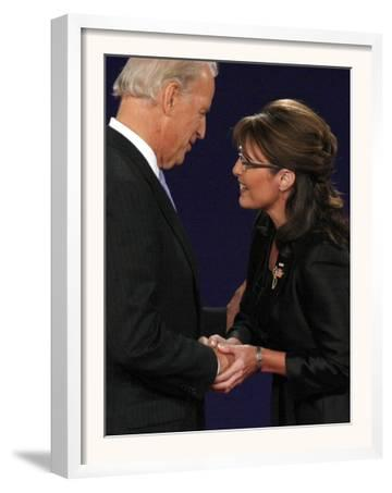 Senator Joe Biden and Governor Sarah Palin Shake Hands before the Start of Vice Presidential Debate