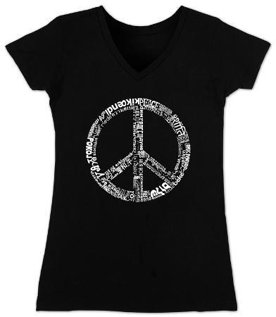 Women's: V-Neck- Peace in 77 Languages