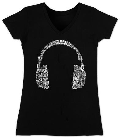 Women's: V-Neck- Headphones out of Different Music Genre's