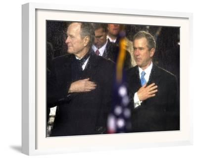 President Bush and His Father, Former President Bush, Put Their Hand Over Their Hearts