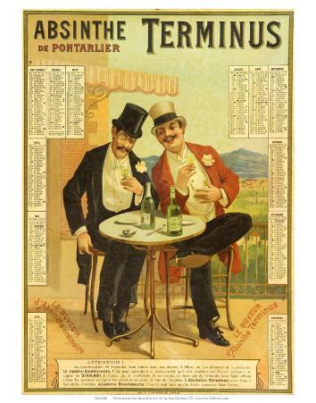 Calendar advertising Absinthe Terminus, 1894
