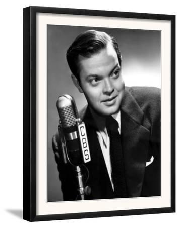 Orson Welles at the CBS Microphone in Publicity Shot for Murcury Summer Theater, 1946