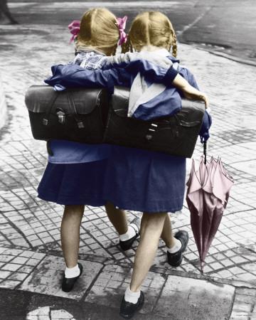 Schoolgirls - Walking And Embracing