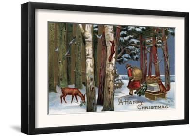 Christmas Greeting - Santa Through Forest