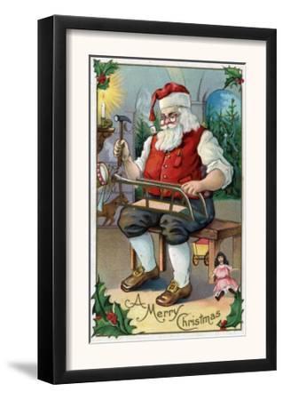 Christmas Greeting - Santa Building Sled