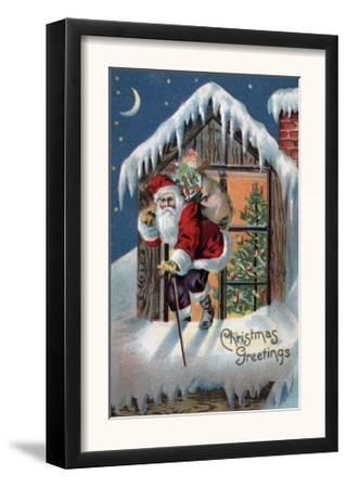 Christmas Greeting - Santa Climbing Out Window