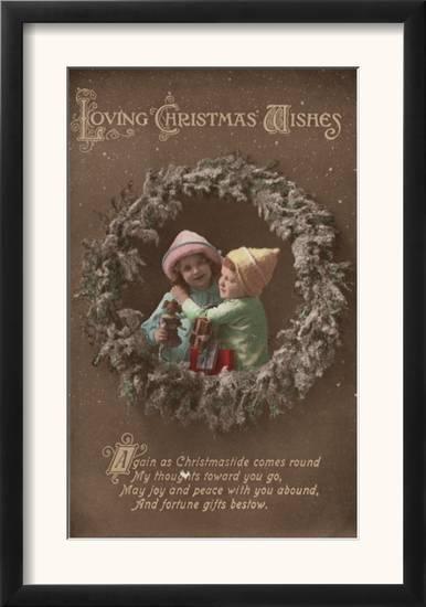loving christmas wishes little kids embracing prints lantern press allposters com allposters com