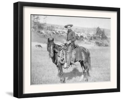 Cowboy on His Horse Photograph - South Dakota