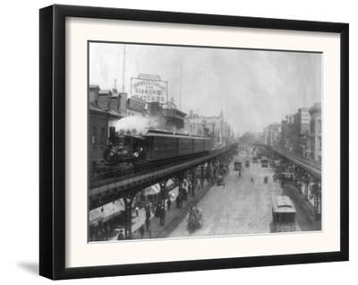 Elevated Railroads in the Bowery NYC Photo - New York, NY