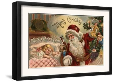 Merry Christmas - Santa Holding Doll, Sleeping Girl