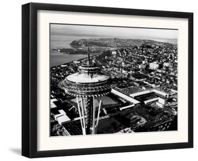 Space Needle construction and Waterfront Photograph - Seattle, WA