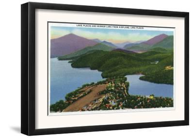 Adirondack Mts, New York - Aerial View of Lakes Placid and Mirror