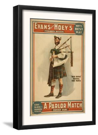"A parlor Match ""Old Hoss"" Scottish Bagpiper Poster"