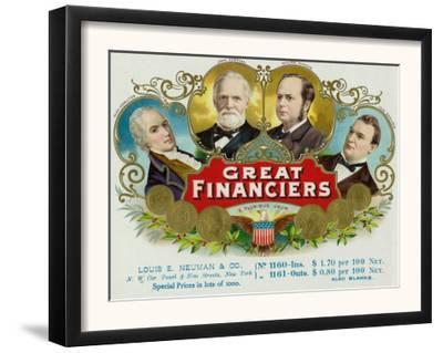 Great Financiers Brand Cigar Box Label
