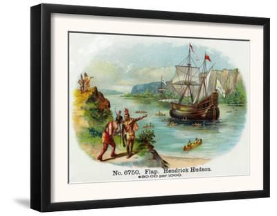 Hendrick Hudson Brand Cigar Box Label, View of Native Americans Looking at a Ship