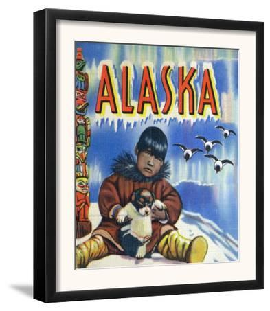 Alaska, View of a Native Child Holding a Puppy, Totem Pole and Penguins
