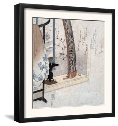 Koto and Robe Stand, Japanese Wood-Cut Print