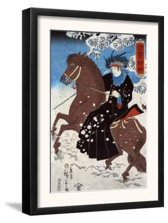 "Woman as ""America"" Riding a Horse, Japanese Wood-Cut Print"