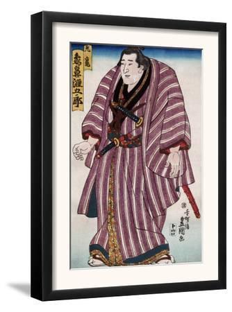 Sumo Wrestler Zogahana Nadagoro, Japanese Wood-Cut Print