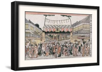Festival at Shinmei Shrine in Shiba, Japanese Wood-Cut Print