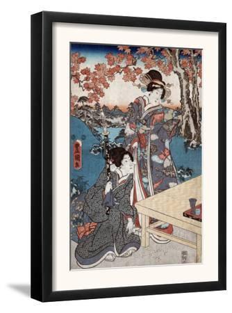 Court Ladies Gathering Maple Leaves, Japanese Wood-Cut Print