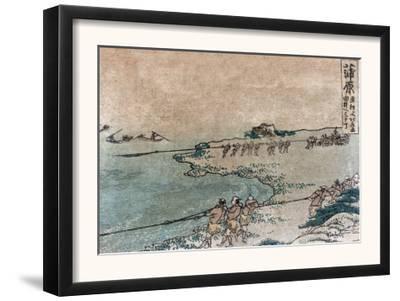 Fishermen Pulling Ashore Fish Nets, Japanese Wood-Cut Print