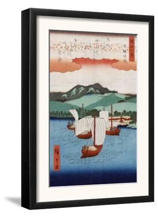 Returning Sails at Yabase, Japanese Wood-Cut Print