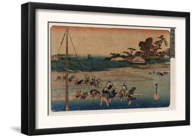 Salt Gathering at Suzaki, Japanese Wood-Cut Print