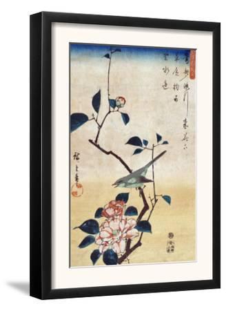 Camellia and Bush Warbler, Japanese Wood-Cut Print