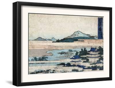 Temple Buildings in Landscape with Mountains, Japanese Wood-Cut Print