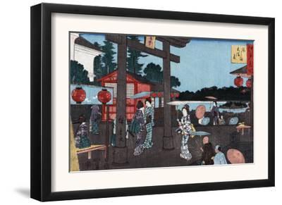 Tenman Shrine at Yushima, Japanese Wood-Cut Print