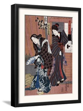 Two Women, one Holding a Large Bowl, Japanese Wood-Cut Print