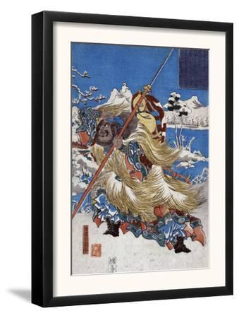 Chinese Three Kingdoms warrior Zhang Fei, Japanese Wood-Cut Print