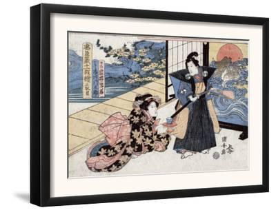 Act Two: Man with Sword and Fan Standing next to a Woman, Japanese Wood-Cut Print
