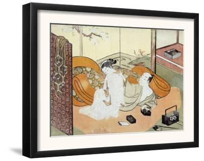 Courtesan and Her Guest in Bed, Japanese Wood-Cut Print