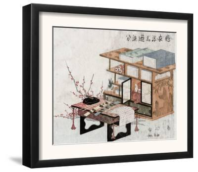 Plum Branches beside Bookshelves and Desk, Japanese Wood-Cut Print