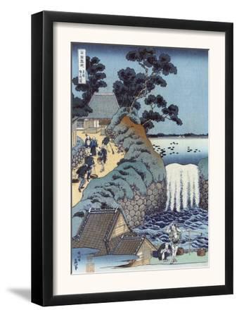 Aoi Gaok Waterfall, Japanese Wood-Cut Print