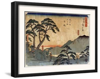 Travelers Standing around Rock at the Nissaka Station, Japanese Wood-Cut Print