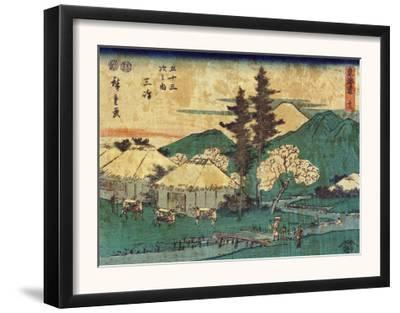 Porters Carrying Palanquins, Japanese Wood-Cut Print