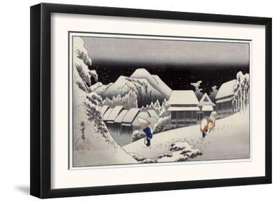 Travellers in the Snow at the Kanbara Station, Japanese Wood-Cut Print