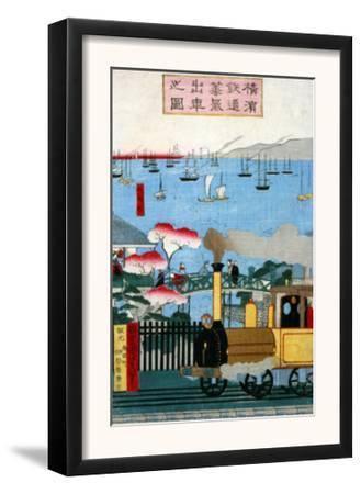 First Steam Train Leaving Yokohama, Japanese Wood-Cut Print