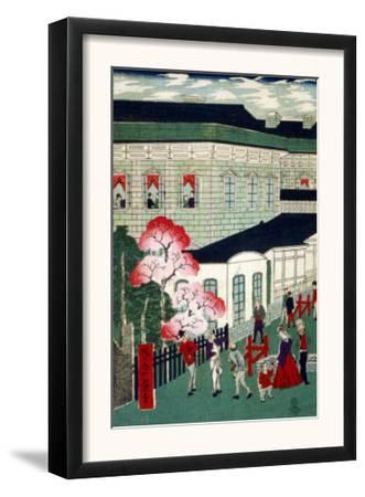 Steam Train Coming from Shimbashi, Japanese Wood-Cut Print
