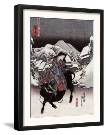 Woman Riding a Bull with a Village in the Background, Japanese Wood-Cut Print