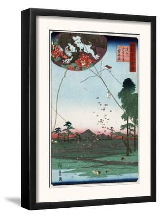 Distant View of Akiba of Enshu: Kites of Fukuroi, Japanese Wood-Cut Print