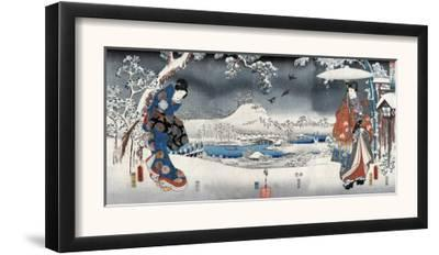 Modern Version of the Tale of Genji in Snow Scenes, Japanese Wood-Cut Print