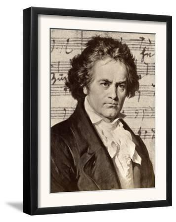Ludwig Van Beethoven with One of His Manuscripts