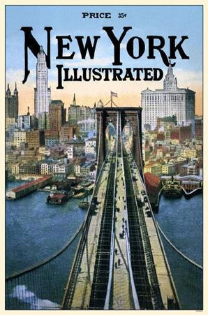 New York Illustrated Brooklyn Bridge